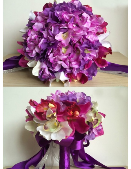Elegant Purple and white Round Artificial Silk Ribbon Wedding Bouquet