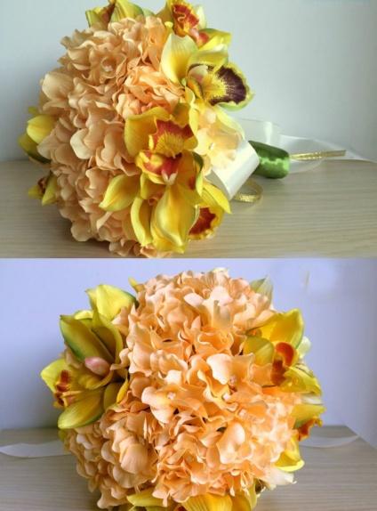 Elegant Yellow Round Artificial Silk Ribbon Wedding Bouquet