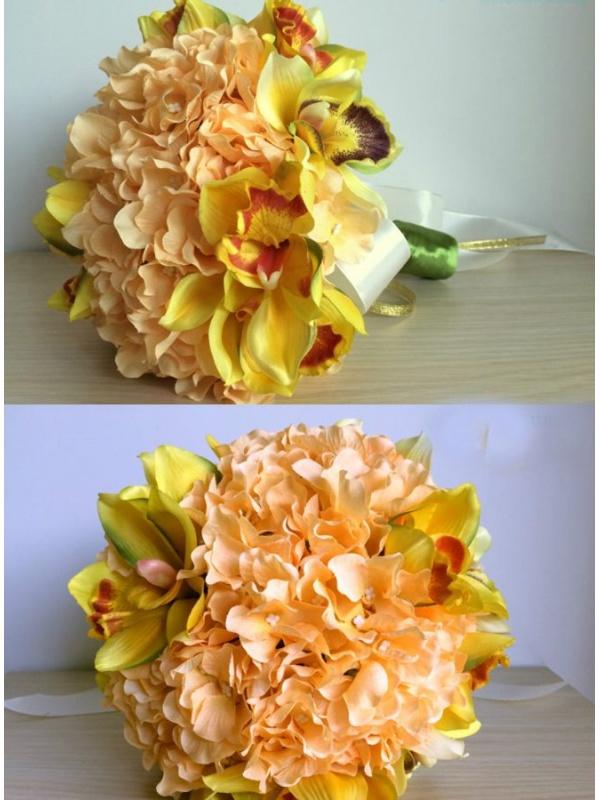 Bouquet Sposa Color Pesca.Bouquet Sposa Online Color Pesca Con Orchidee Finte