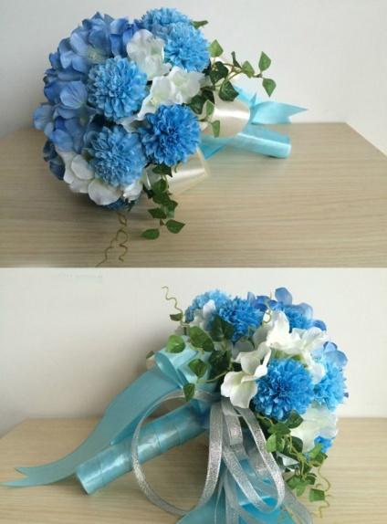 Bouquet Sposa Blu E Bianco.Elegant Blue Round Artificial Silk Ribbon Wedding Bouquet