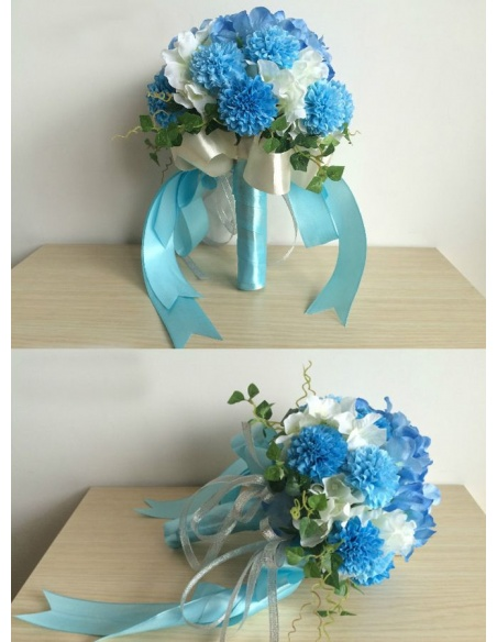Elegant Blue Round Artificial Silk Ribbon Wedding Bouquet