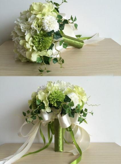 Bouquet Sposa Bianco.Bouquet Sposa Verde E Bianco Finto Online