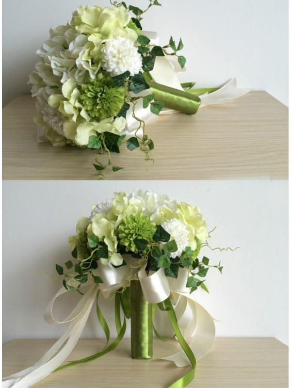 Bouquet Sposa Verde Mela.Bouquet Sposa Verde E Bianco Finto Online