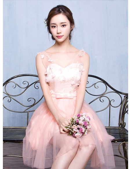 Bridesmaid A-line Knee length Tulle Lace V-neck Wedding Party Dress