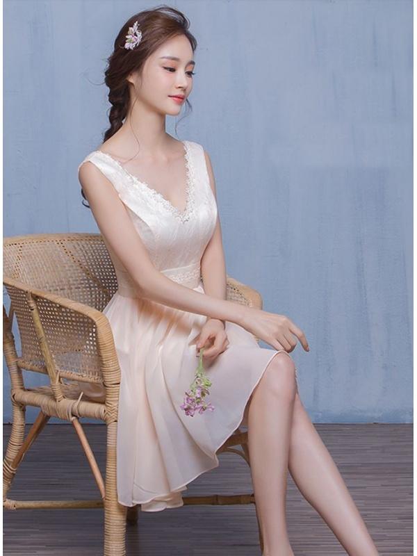 9960b2af0e25 Abiti Eleganti Con Scollo A V » Abito da cerimonia corto cinese con ...