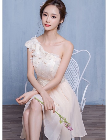 Bridesmaid A-line Knee length Chiffon Lace One shoulder Wedding Party Dress