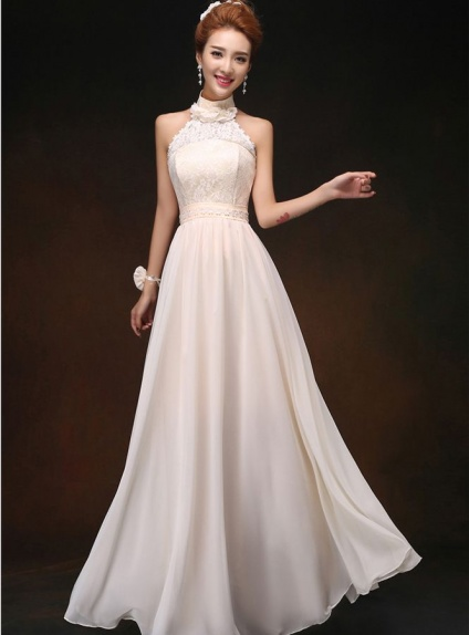 Bridesmaid A Line Floor Length Chiffon Lace Halter Wedding Party Dress