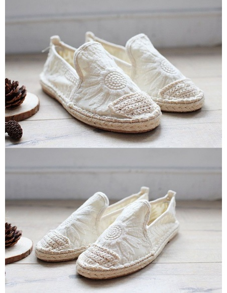 Round toe Cotton Rubber sole Wedding shoes