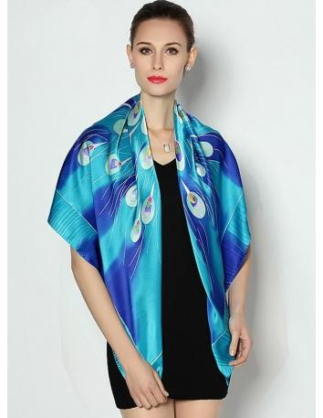 Stola elegante online in Seta 100% a fantasia blu e turchese