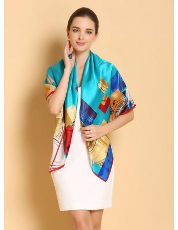 Stola di Pura Seta online azzurra con motivi colorati