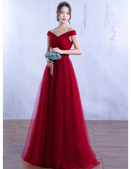 Bridesmaid A-line Floor length Tulle V-neck Wedding Party Dress
