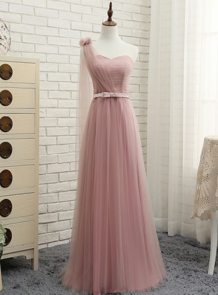 A-line Floor length Tulle One shoulder Wedding Party Dress
