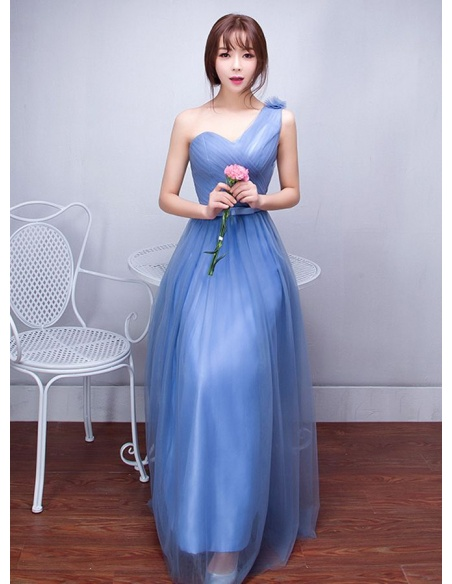 Bridesmaid A-line Floor length Tulle One shoulder Wedding Party Dress
