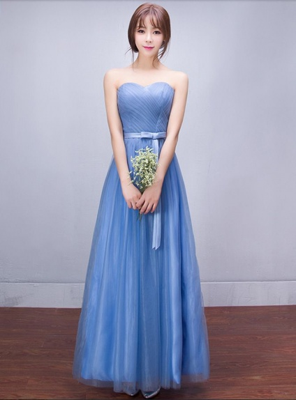Bridesmaid A-line Floor length Tulle Sweetheart Wedding Party Dress