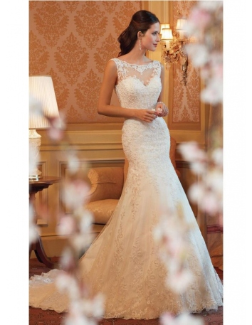 Mermaid Chapel train Tulle Low round/Scooped neck Wedding dress