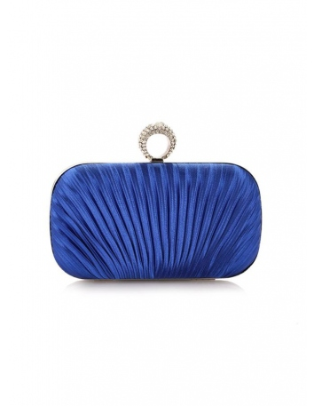 Pochette elegante da cerimonia blu reale elettrico con finiture argento