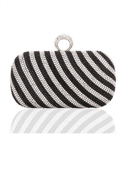 Pochette Elegante brillante nera e argento con strass