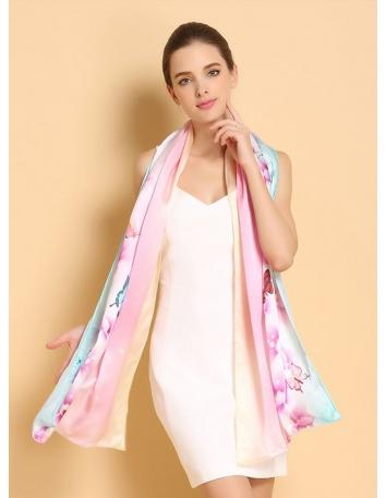 Stola di Seta con sfumature rosa e farfalle