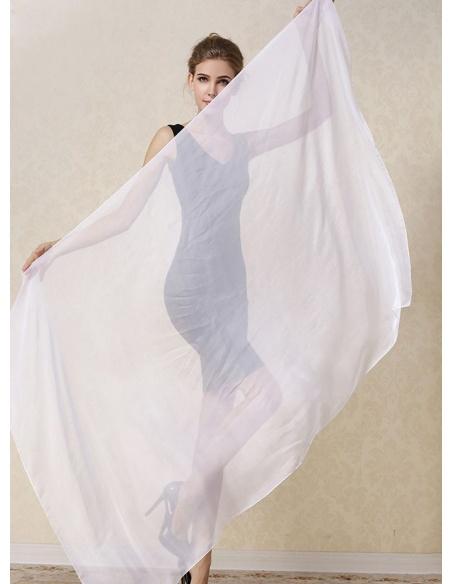 Stola bianca da sposa in pura seta naturale 100%