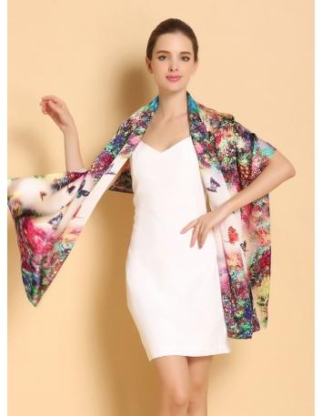 Stola in pura seta con stampa con fiori e farfalle