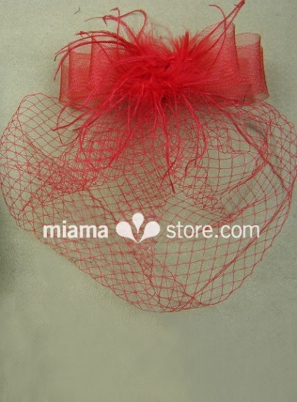 Red Feather Tulle Wedding Bridal Headpiece