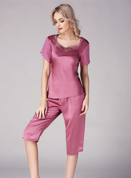 100% mulberry silk Purple Noble V-neck Silk shirt and Pants