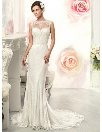 Mermaid Chapel train Lace High round/Slash neck Wedding dress
