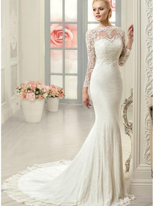Curvy mermaid wedding dresses with sleeves