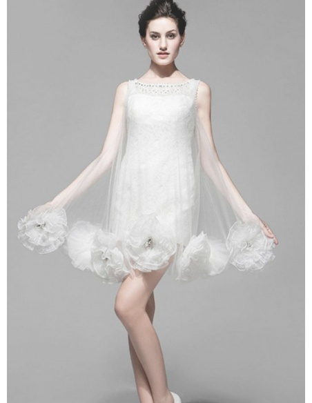 A-line Short Tulle Lace Low round/Scooped neck Wedding dress