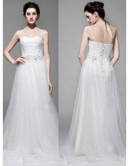 A-line Sweetheart Chapel train Tulle Lace Wedding dress
