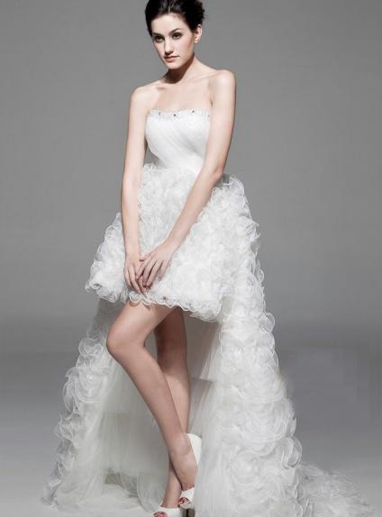Short Strapless Asymmetrical Organza Wedding dress