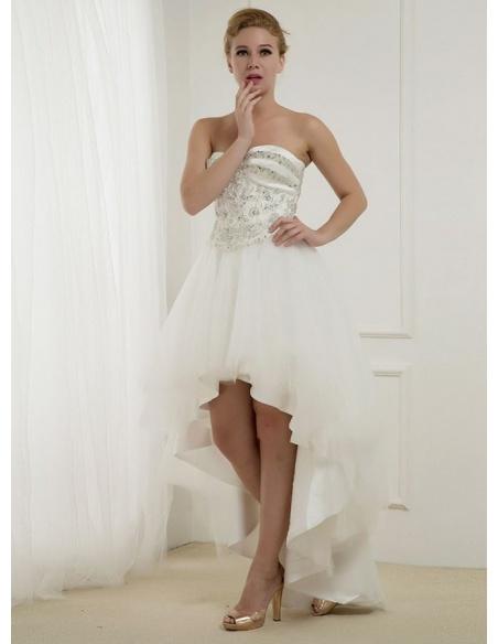 A-line Sweetheart Asymmetrical Tulle Wedding dress
