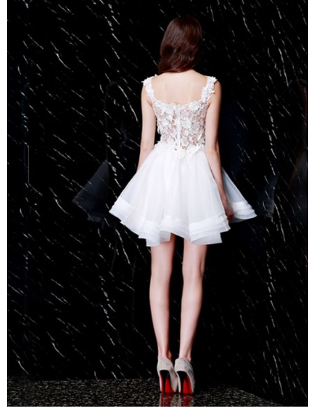 Party dresses Graduation dresses A-line Short/Mini Lace Organza Square neck Occasion dress