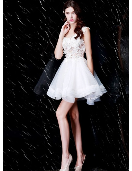 ea21e4ff9f Party dresses Graduation dresses A-line Short Mini Lace Organza Square neck  Occasion dress