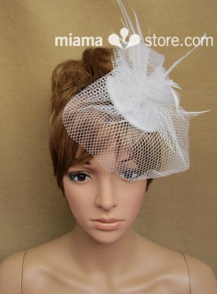 White Feather Tulle Wedding Bridal Headpiece