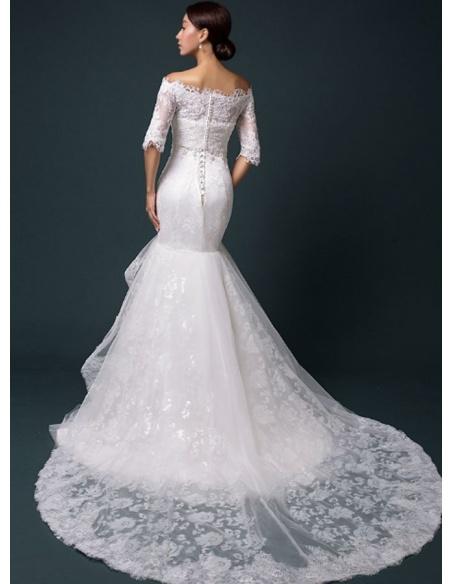 Mermaid Sweetheart Chapel train Lace Wedding dress