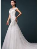 Vestito da Sposa a Sirena economico con ricami e applicazioni di Pizzo