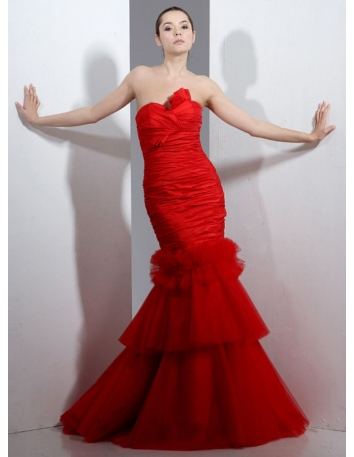 Vestiti da sposa a Sirena rossi con scollo a cuore in taffetta drappeggiato con coda di tulle disponibile in tutti i colori
