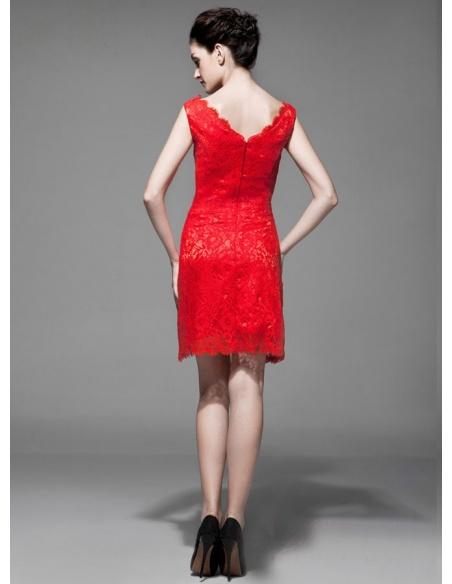 Party dresses A-line Short/Mini Lace V-neck Occasion dress