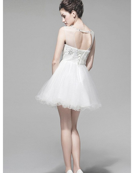 Party dresses Graduation dresses A-line Short/Mini Tulle Low round/Scooped neck Occasion dress