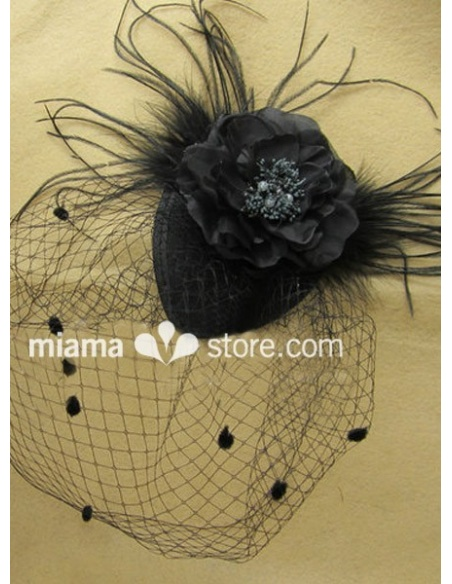 Black Feather Tulle Wedding Bridal Headpiece