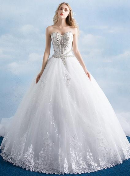 Top da Sposa da Principessa con bustino steccato e gonna glitter VY29