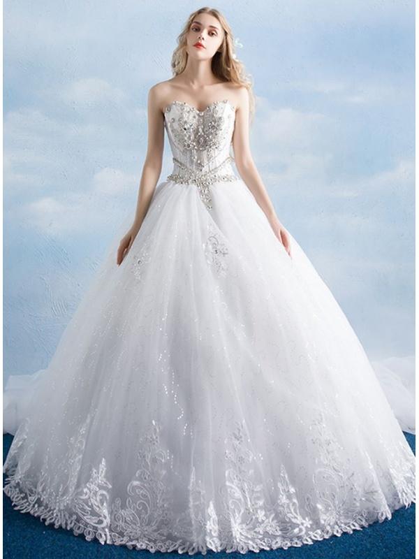 Vestiti Da Sposa Da Principessa.Abito Da Sposa Da Principessa Con Bustino Steccato E Gonna Glitter