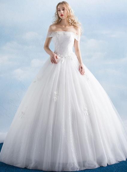 Vestito da Sposa A-line di Tulle morbido con scollo a barca economico