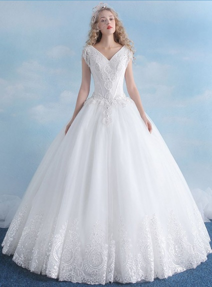 A-line V-neck Floor length Tulle Wedding dress