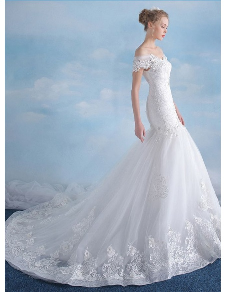 Mermaid Off the shoulder Chapel train Tulle Wedding dress