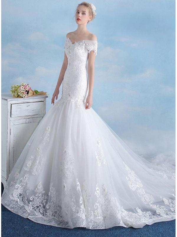 Mermaid Wedding Dress With Chapel Train : Mermaid off the shoulder chapel train tulle wedding dress on sale at