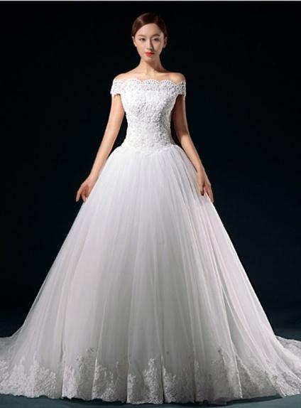 A-line Off the shoulder Chapel train Lace Wedding dress