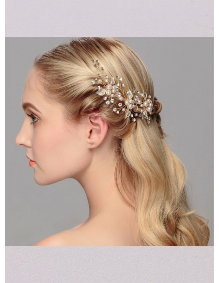 Gold Alloy Wedding Bridal Headpiece
