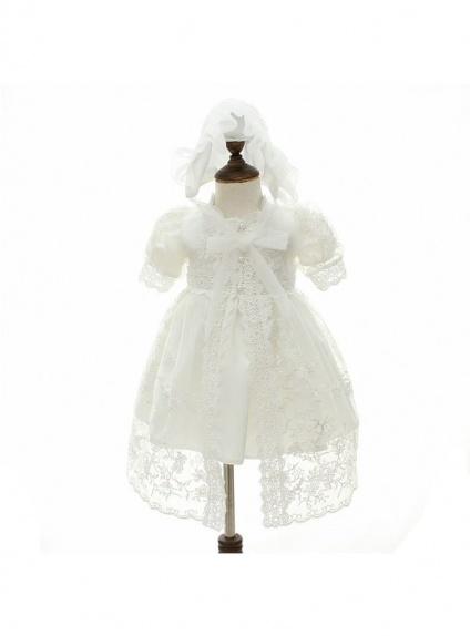 Vestito da Battesimo avorio compreso di cappuccio e mantellina di pizzo